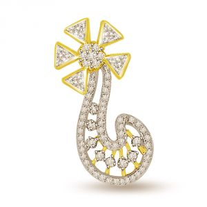 Buy Surat Diamond 0.55 Cts Flower Shape Two Tone Diamond Pendant P690 online