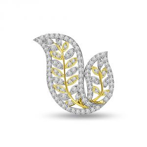 Buy Surat Diamond Passionate Leaves - 1.00 Cts Two Tone Gold Leaves Diamond Pendant P694 online