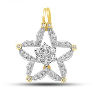 Buy Surat Diamond 0.32ct You Are My Star Diamond & 18kt Gold Pendant For Your Love P715 online