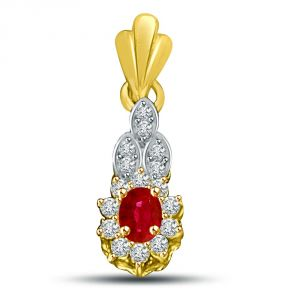 Buy Surat Diamond Oval Red Ruby Surrounded By White Diamond & 18kt Gold Pendant P911 online
