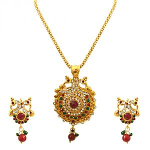 Buy Surat Diamond Bejewelled Peacocks - Pendant Necklace & Earring Set Ps241 online