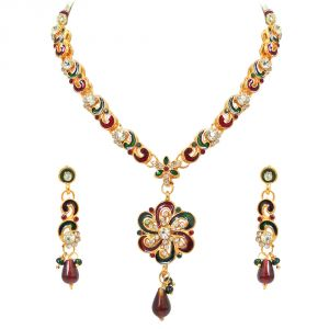 Buy Surat Diamond Maaya - Red & Green Enamelled With White Kundan Polki Fashion Jewellery Set online
