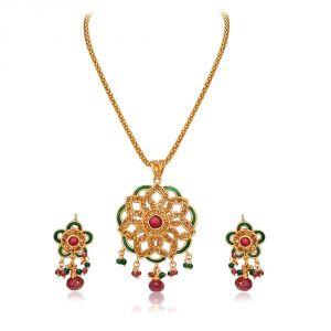 Buy Surat Diamond Round Shaped Rajasthani Polki Pendant Necklace & Earring Set Ps41 online
