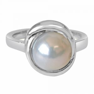 Buy Surat Diamond 5.00 Cts Real Natural Big Round Pearl & 925 Sterling Silver Ring For Astrological Power For All Psr9 online