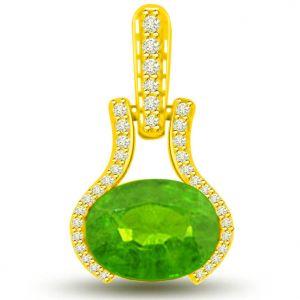 Buy Surat Diamond 1.40 Tcw Emerald And Diamond Pendant In Yellow Gold - P1137 online