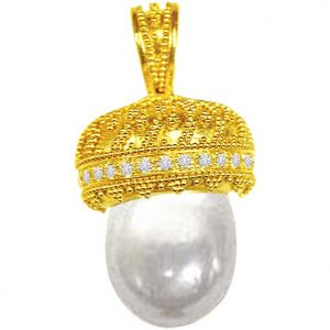 Buy Surat Diamond 0.25ct Diamond & Pearl Pendant - P430 online