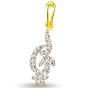 Buy Surat Diamond 0.22 Cts Two Tone Flower With Leaves Diamond Pendant - P695 online