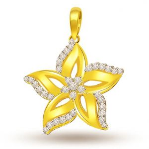 Buy Surat Diamond 0.30 Cts Starflower Diamond 18k Pendant - P698 online