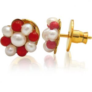 Buy Surat Diamond Pearl And Red Coral Earrings Se109 online