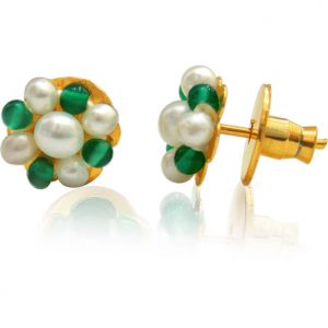 Buy Surat Diamond Pearl And Green Onyx Kudajodi Earrings Se110 online