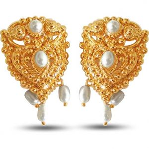 Buy Surat Diamond Temple Shaped Pearl And Metal Gold Plated Earrings Se64 online