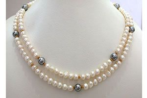 Buy Surat Diamond 2 Line Real Pearl And Shell Pearl Necklace Necklace Sn307 online