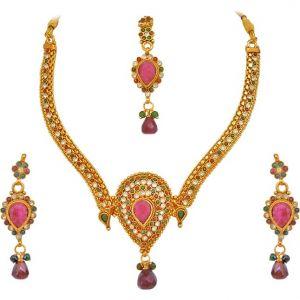 Buy Surat Diamond Multi Colour Gold Plated Stone Jewellery Set - Ps125 online