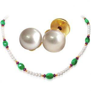Buy Surat Diamond - Big Oval Shaped Lustrous Green Necklace Set - Sn175+se65 online