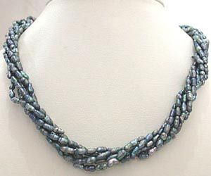 Buy Surat Diamond - 6 Line Twisted Grey & Black Pearl Necklace - Sn310 online