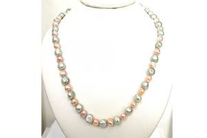 Buy Surat Diamond - Green & Peach Dyed Pearl Necklace - Sn457 online