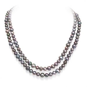 Buy Surat Diamond - 2 Line Grey Freshwater Pearl Necklace - Sn480 online