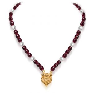 Buy Surat Diamond - Red Beads & Freshwater Pearl Necklace - Sn555 - Sn555 online