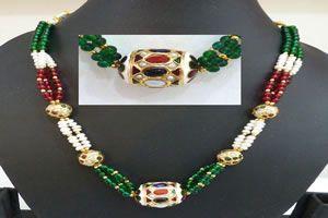 Buy Surat Diamond - Fine Rajasthani Polki Set - Sn614 online