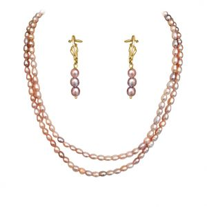 Buy Surat Diamond - Real Natural Pink-purple Coloured Rice Pearl Necklace Earring Set - Sn621 online
