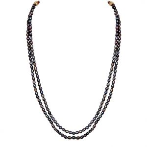 Buy Surat Diamond - 2 Line Real Grey Rice Pearl Necklace - Sn626 online