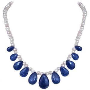 Buy Surat Diamond - Real Drop Blue Sapphire & Freshwater Pearl Necklace - Sn658 online