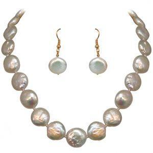 Buy Surat Diamond - Trendy White Flat Button Pearl Set - Sn665 online