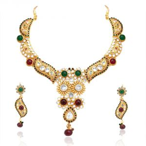 Buy Surat Diamond Beautiful Maharani Style Rajasthani Polki Necklace Earring Set Sd15 online