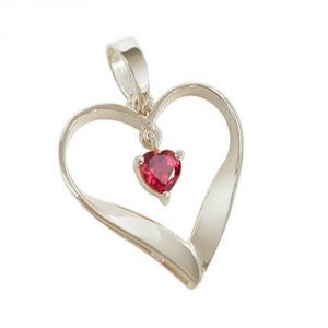 Buy Surat Diamond - Heart Of Red Sterling Silver Pendant -sdp11 online