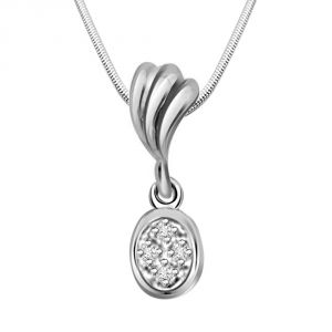 Buy Surat Diamond Fashion Review - Real Diamond & Sterling Silver Pendant With 18 Inch Chain online