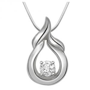 Buy Surat Diamond Happiness Is On.. - Real Diamond & Sterling Silver Pendant With 18 Inch Chain online