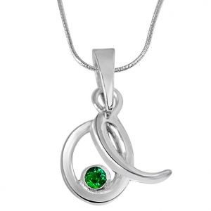 Buy Surat Diamond Emerald Twist - Real Emerald & Sterling Silver Pendant With Silver Finished 18 In Chain Sdp230 online