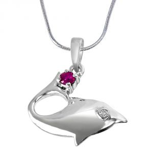 Buy Surat Diamond Lovista Magic Real Diamond, Red Ruby & Sterling Silver Pendant With 18 In Chain Sdp279 online