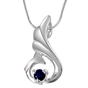 Buy Surat Diamond Over The Hill Blue Sapphire & Sterling Silver Pendant With 18 In Chain Sdp286 online