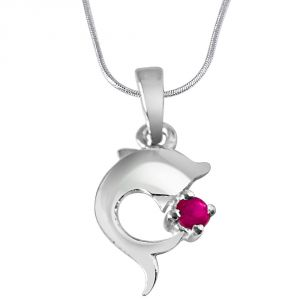 Buy Surat Diamond Dream Weaver Real Red Ruby & Sterling Silver Pendant With 18 In Chain Sdp295 online