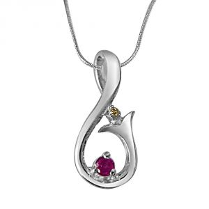 Buy Surat Diamond Magic Carpet Ride Real Diamond, Ruby & Sterling Silver Pendant With 18 Inch Chain online