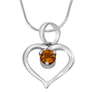 Buy Surat Diamond Perfect Memories Heart Shaped Yellow Topaz & 925 Sterling Silver Pendant With 18 In Chain Sdp408 online