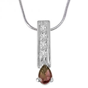 Buy Surat Diamond Trendy Pear Shaped Brown Tourmaline, Round White Topaz And 925 Sterling Silver Pendant With 18 In Chain Sdp423 online