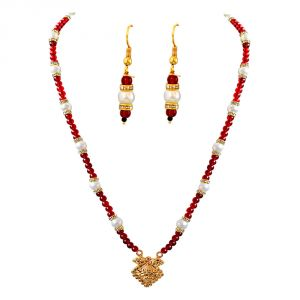 Buy surat diamond geometrical shaped gold plated pendant red buy surat diamond geometrical shaped gold plated pendant red stone shell pearl necklace earring mozeypictures Image collections
