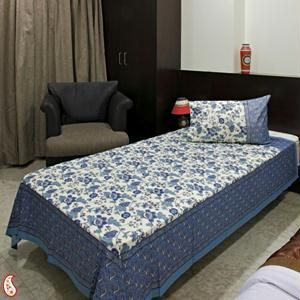 Buy Sanganeri Gold Block Print Bed Sheet Set Online | Best Prices
