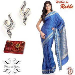 Buy Rakhi Gifts - Blue Art Silk Saree & Earrings Hamper For Sister online