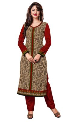 Salwar Studio Beige - Red Cotton Floral, Paisley Printed Unstitched Kurti Fabric - (Code - Komalkavya-1109)