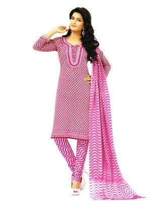 Buy Salwar Studio Pink   White Dress Material With Dupatta Online ... 55616cbca