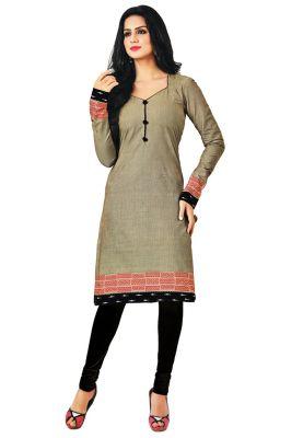 e39ced723e Buy Salwar Studio Women's Grey & Black Cotton Self Printed Unstitched Kurti  Fabric-(product