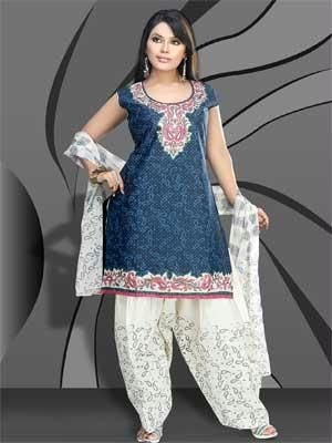 44969be81 Buy Readymade Blue Cotton Salwar Kameez Online