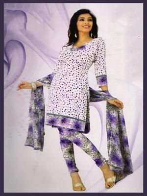 1e53169cfde Buy Lavender   Off White Synthetic Unstitched Churidar Online
