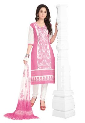 Buy Salwar Studio Light Pink-white Cotton Paisley-floral Embroidered Dress  Material With Dupatta 6a3dd3e42