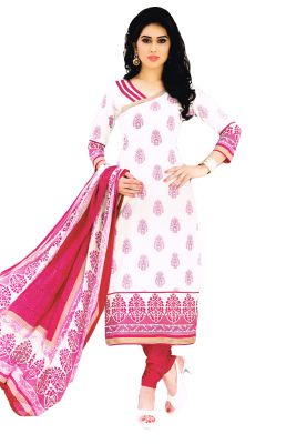 Buy Salwar Studio White-pink Cotton Floral Printed Dress Material With  Dupatta-(code aee9e7e90