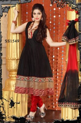 2ca811cefa Buy Salwar Studio Black & Red Chanderi Readymade Salwar Suit With Dupatta  Ss1549 online