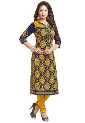 Salwar Studio Womens Dark Blue & Gold Cotton Paisley, Floral Printed Unstitched Kurti